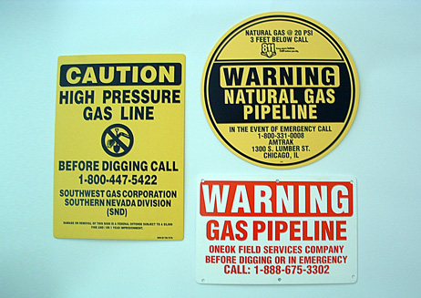 Warning Gas Pipeline Poly Signs